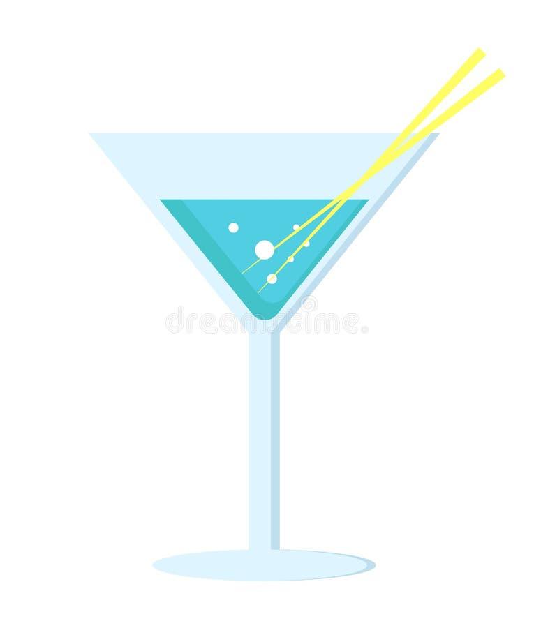 Margarita Cocktail dans la longue jambe en verre avec le parapluie illustration libre de droits