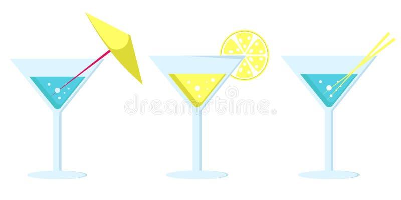 Margarita Cocktail dans la longue jambe en verre avec le parapluie illustration stock