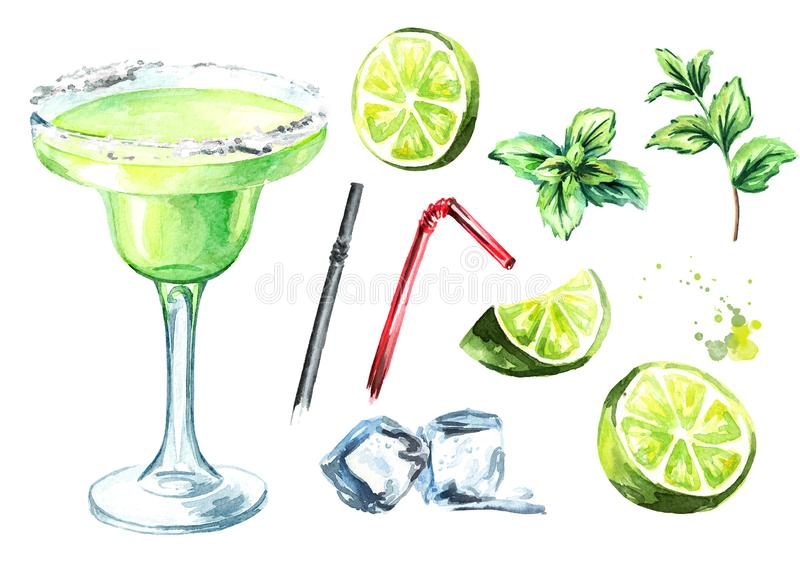 Margarita cocktail with decor elements lime, mint and ice cubes. Watercolor hand drawn illustration, isolated on white background.  vector illustration