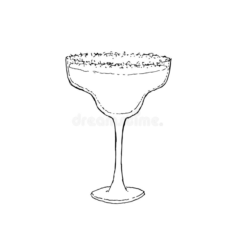 Margarita Cocktail Digital drawing vector illustration. Glass on white isolated background. MargaritaCocktail. Monochrome sketch, hand drawing. Black outline on royalty free illustration
