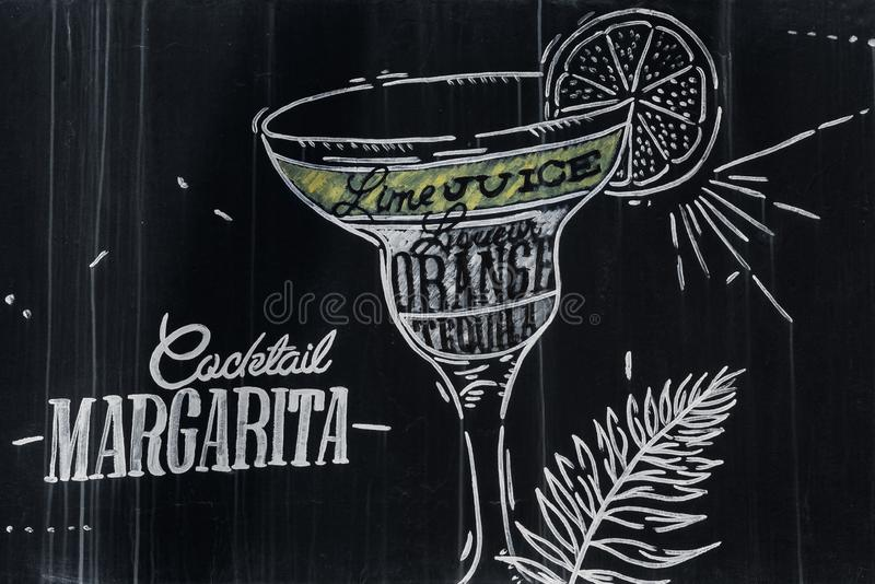 Margarita cocktail drawing with chalk on blackboard. Margarita cocktail in vintage style drawing with chalk on blackboard stock illustration