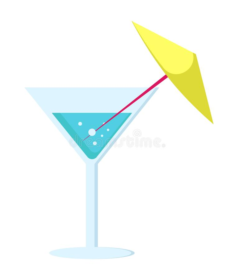 Margarita Cocktail in Glass Long Leg with Umbrella. Margarita cocktail in glass on long leg decorated with yellow umbrella vector illustration isolated on white vector illustration