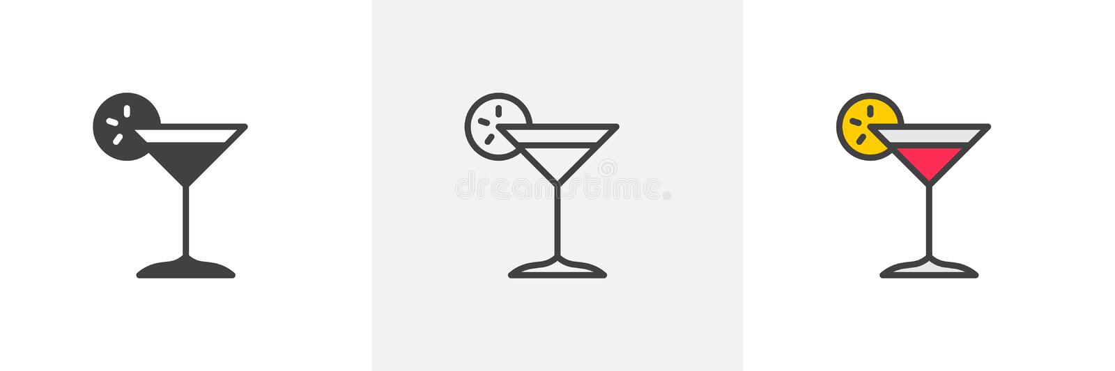 Margarita cocktail icon. Line, glyph and filled outline colorful version, Cocktail glass with lemon slice outline and filled vector sign. Bar symbol, logo stock illustration