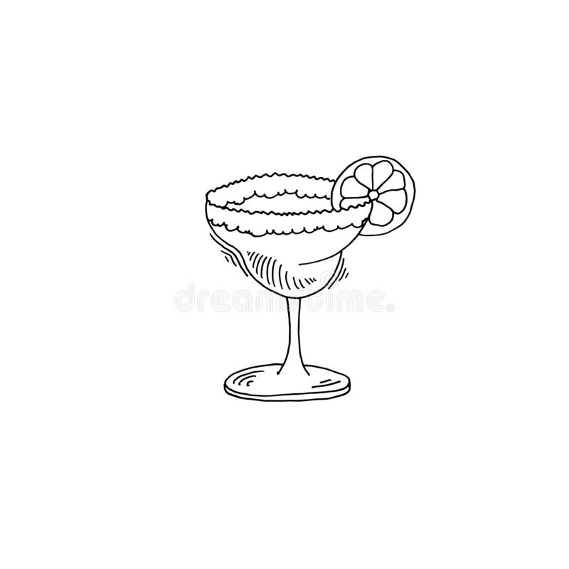 Margarita cocktail sketch drawing icon stock illustration