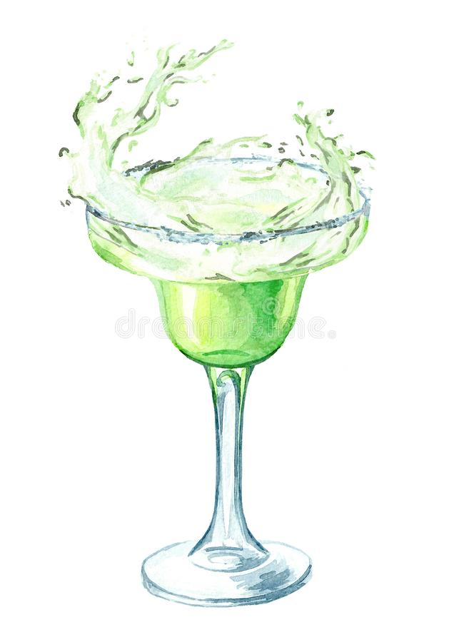 Margarita cocktail splash in the glass. Watercolor hand drawn illustration, isolated on white background.  stock illustration