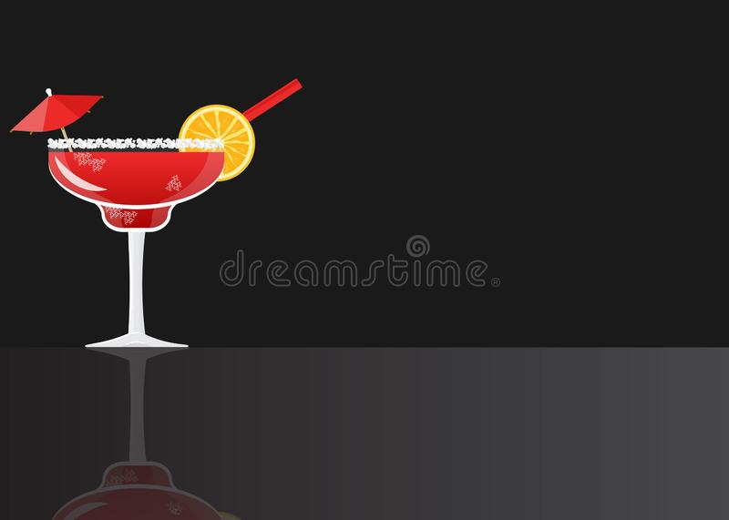 Margarita cocktail strawberry. On black mirrored background. Vector illustration for web and print, party invitation or menu decoration stock illustration
