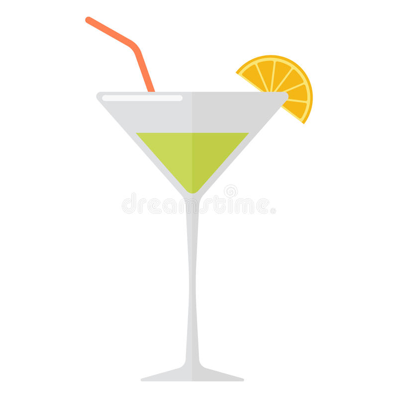 Margarita cocktail vector illustration. Margarita drink with lime slice isolated on white. Beverage refreshment ice tequila juice cocktail. Vector classical royalty free illustration