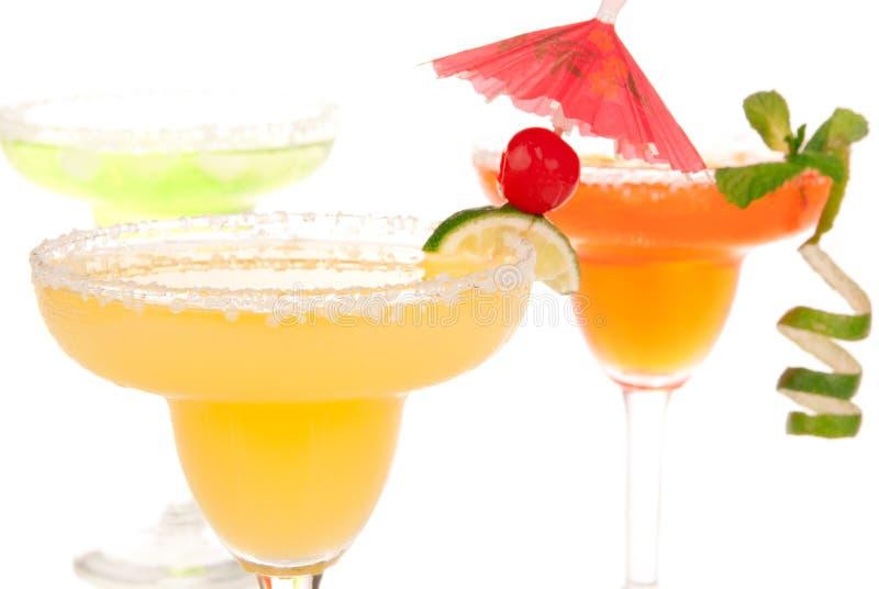 Margarita cocktails chilled salt in rimmed glasses