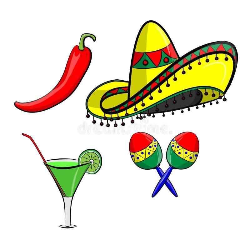 Margarita com sombreiro, o jalapeno e os maracas EPS 10 vector, agrupado para a edição fácil Nenhuns formas ou trajetos abertos ilustração do vetor