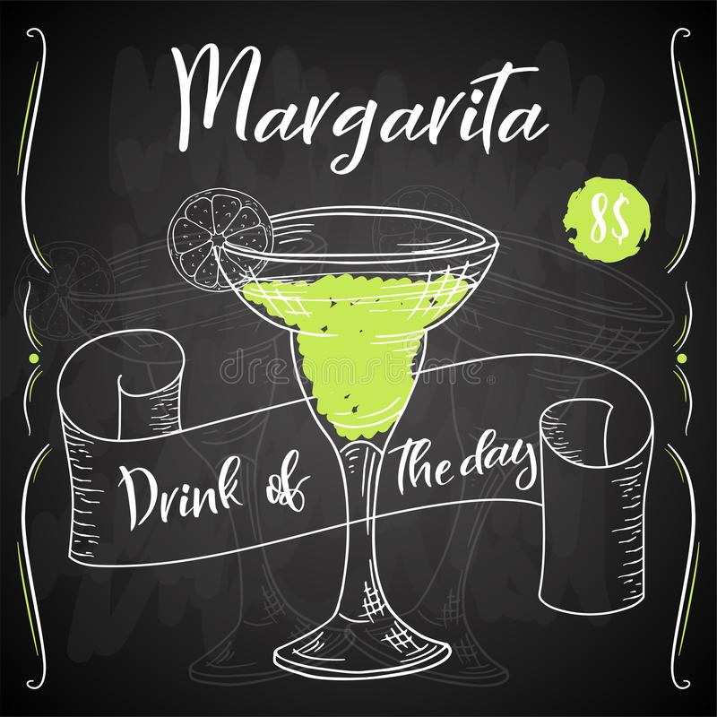 Margarita de cocktail d'Alcoholc Affiche d'été de partie Fond de vecteur illustration libre de droits