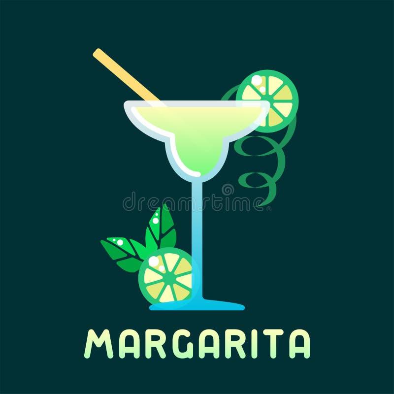 Margarita de cocktail d'alcool avec des décorations et le nom illustration libre de droits