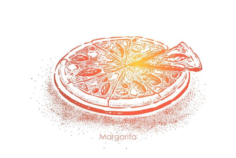 Margarita de pizza, repas délicieux avec des tomates, fromage de mozzarella, sel et huile d'olive, casse-croûte délicieux illustration libre de droits