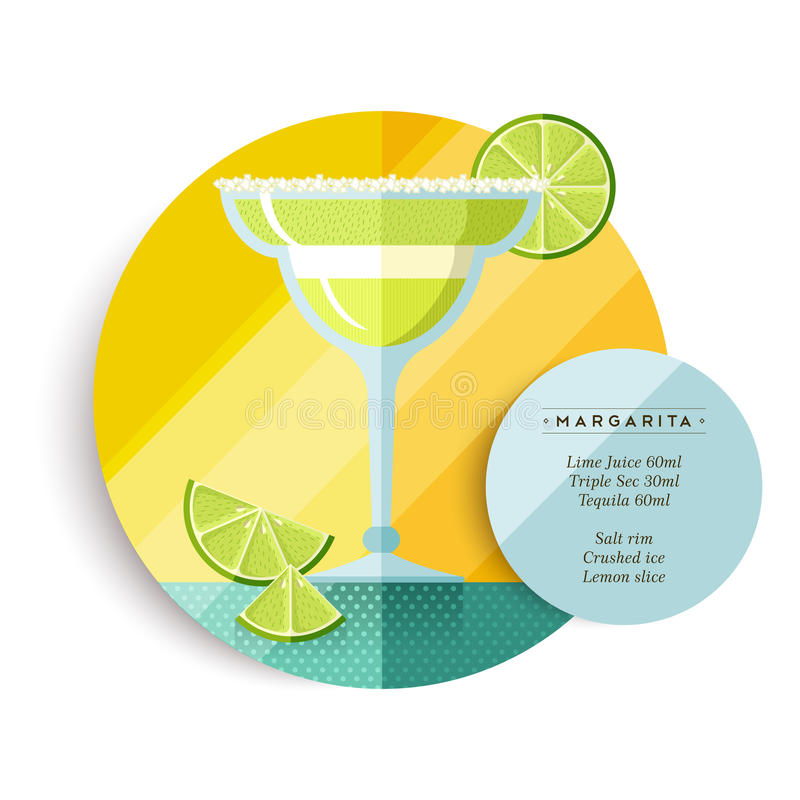 Margarita drink recipe menu for cocktail party. Margarita cocktail drink recipe illustration in colorful flat art design style with summer fruit decoration and stock illustration