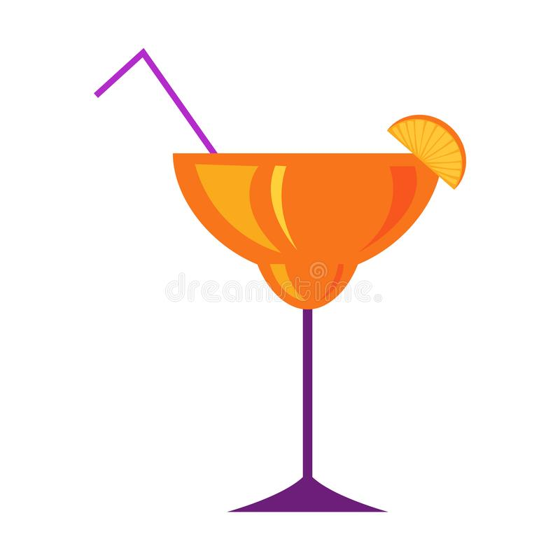 Margarita Glass with Citrus Cocktail Flat Vector vector illustration
