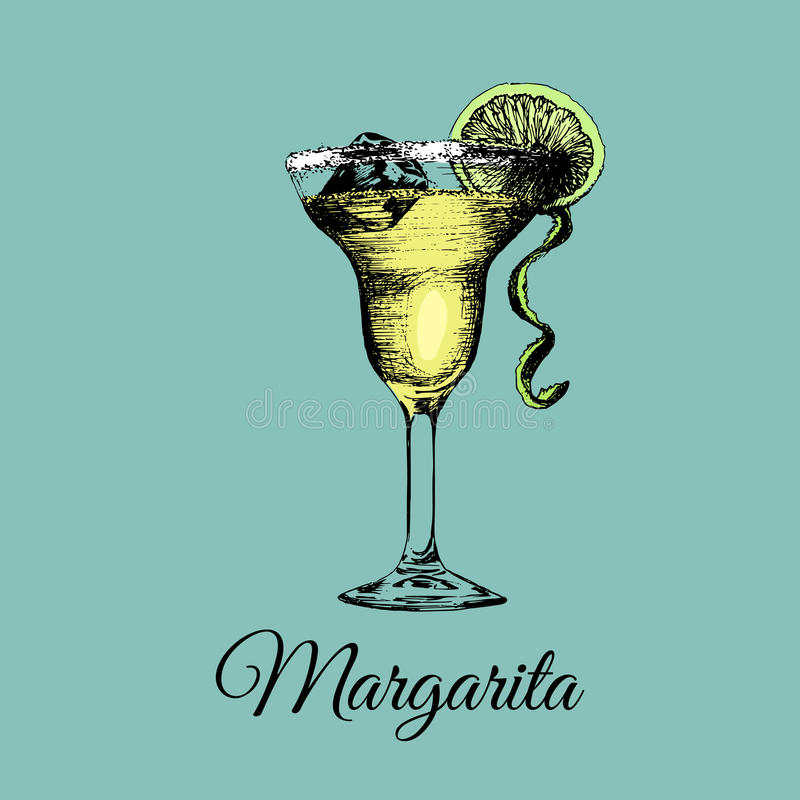 Margarita glass isolated.Vector illustration of alcoholic drink.Hand drawn sketch of cocktail with slice of lime and ice. Margarita glass isolated. Vector vector illustration
