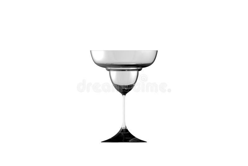 3D illustration of margarita glass isolated on white side view - drinking glass render. Margarita glass isolated on white side view - drinking glass render, 3D vector illustration