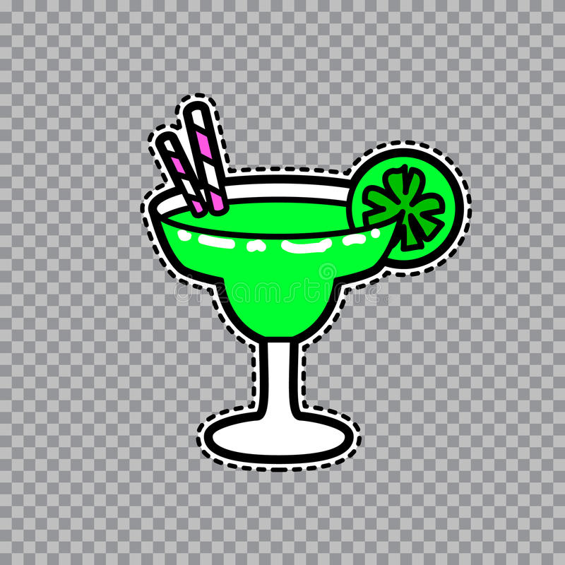 Margarita goblet with a slice of lime and straws vector sticker. Vector illustration of fashion fun and cute patch sticker with margarita goblet with a slice of stock illustration