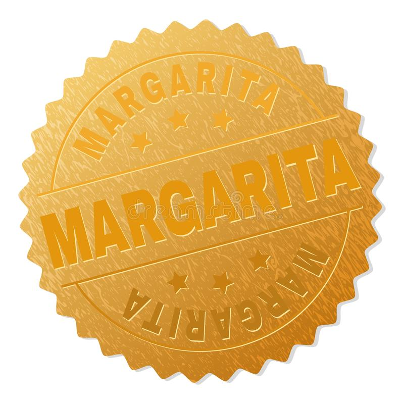 Gold MARGARITA Medallion Stamp. MARGARITA gold stamp seal. Vector gold award with MARGARITA title. Text labels are placed between parallel lines and on circle stock illustration