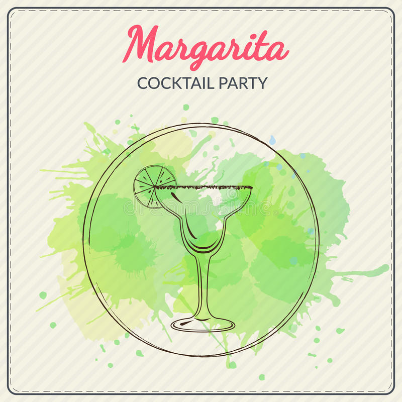 Margarita. Hand drawn vector illustration of cocktail. Colorful watercolor background royalty free illustration
