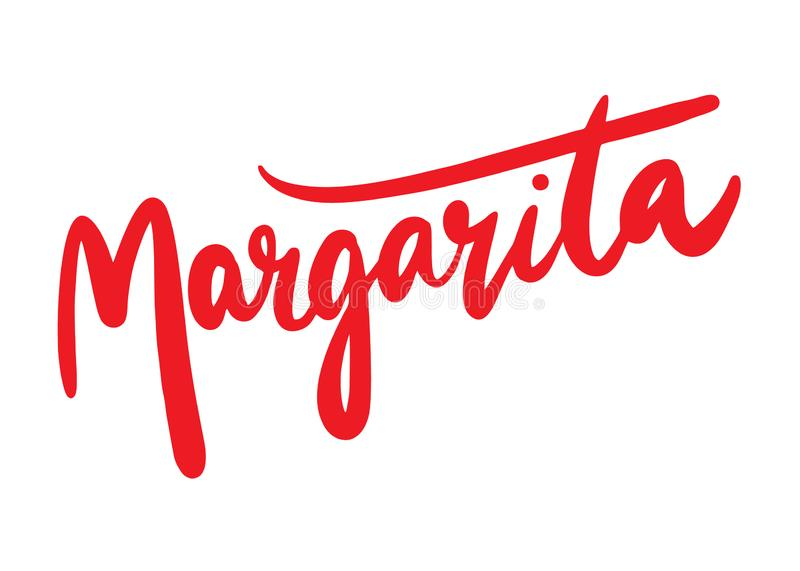 Margarita hand drawn vector lettering. Isolated on white background royalty free illustration