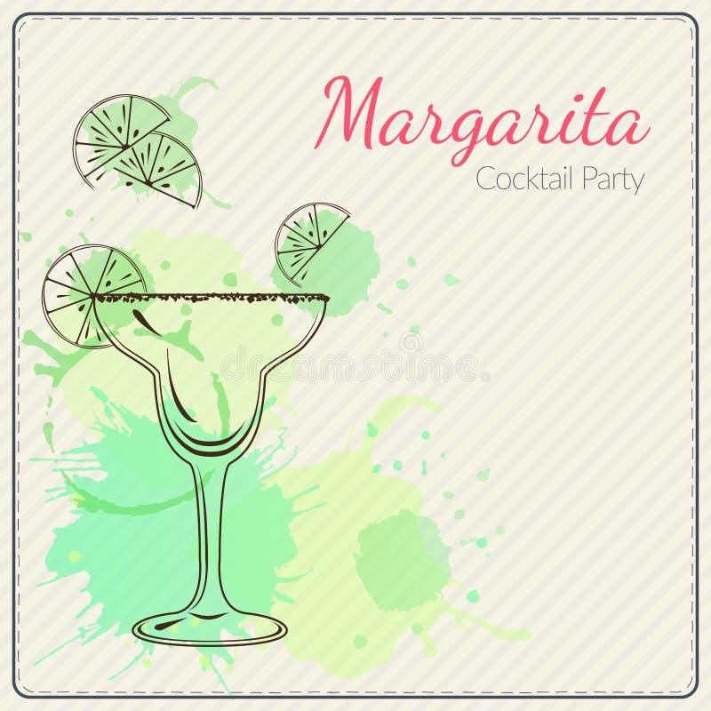 margarita Illustration tirée par la main de vecteur de cocktail Fond coloré d'aquarelle illustration libre de droits