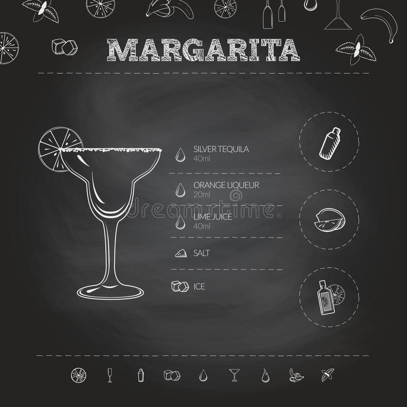margarita Insieme infographic del cocktail Illustrazione di vettore royalty illustrazione gratis