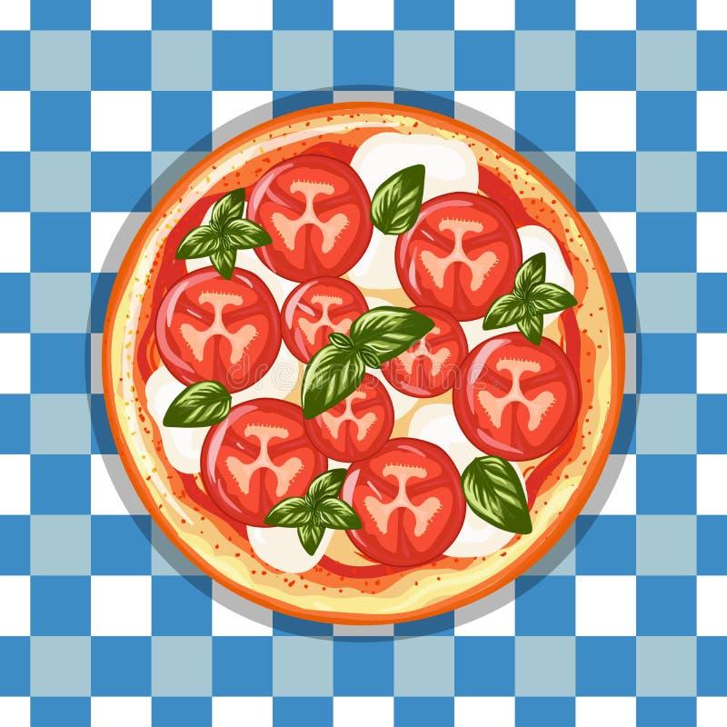 Margarita italienne de pizza avec les tomates, le fromage et le basilic Tiré par la main illustration stock