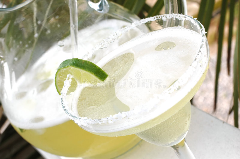 Margarita With Lime And Pitcher Royalty Free Stock Photo