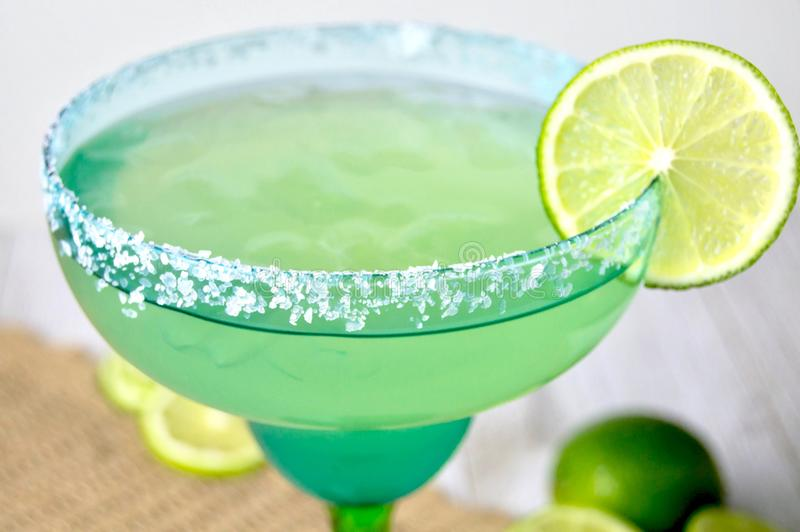 Margarita with lime stock photo