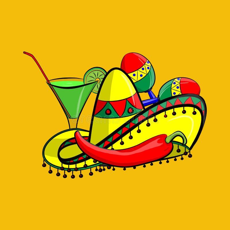 Margarita med sombreron, jalapenoen och maracas EPS 10 som grupperas för lätt redigera Inget öppet formar eller banor vektor illustrationer