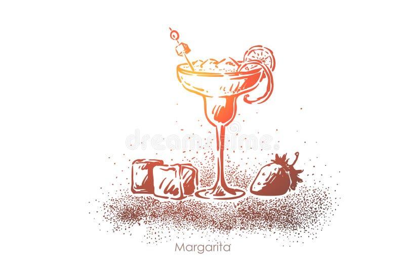Margarita-Nahaufnahme, köstliche Erfrischung, Tequila mit Eis und Zitronenscheibe, Luxusgetränkeglas mit Erdbeere vektor abbildung