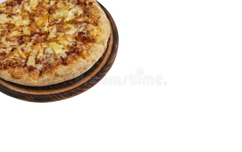 Margarita, Pepperonipizza, lokalisiert, Fastfood, weißer Hintergrund, Draufsicht, Kopienraum stockbilder