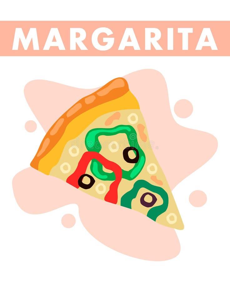 Margarita Pizza Slice Closeup Flat Illustration. Traditional Italian Takeaway Dish in Restaurant Menu. Vegetarian Street Food Festival Brochure Concept. Pastry vector illustration