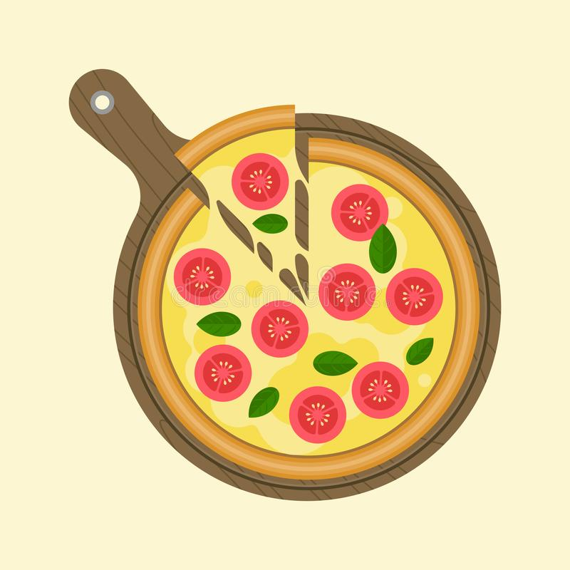 Download Margarita Pizza And Slice Of Piece On Wooden Tray Plate Stock Vector