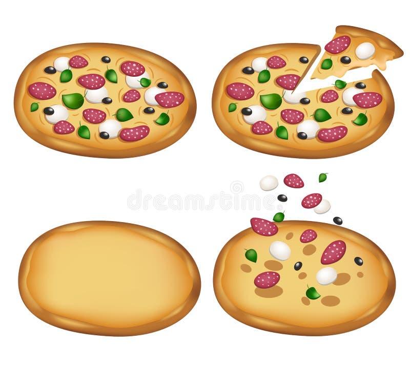Margarita pizzy zestaw z salami Tradycyjni składniki Cali i plasterek pizze również zwrócić corel ilustracji wektora ikona set royalty ilustracja