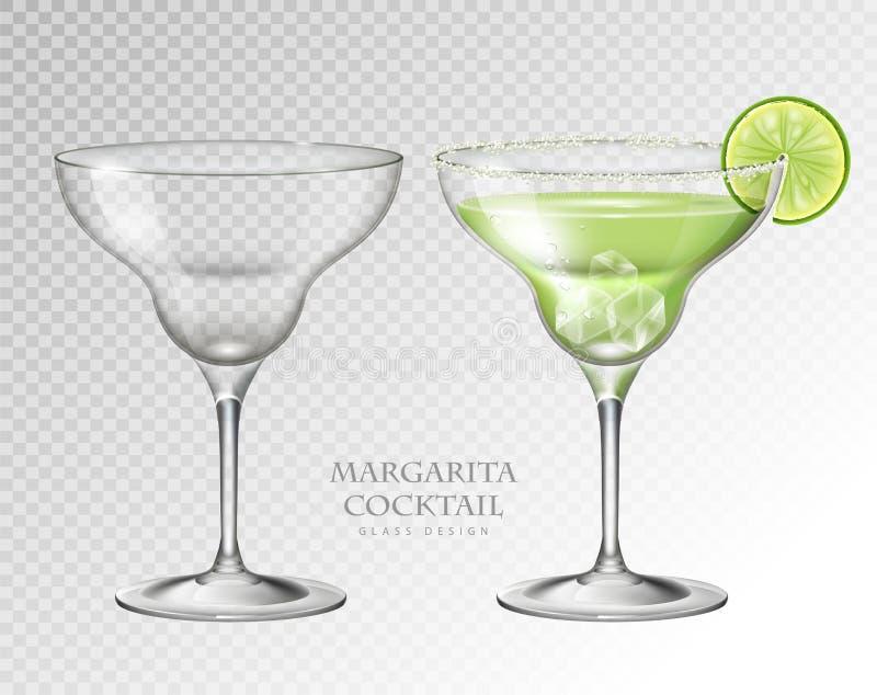 Margarita réaliste de cocktail sur le fond transparent Plein et vide verre illustration stock