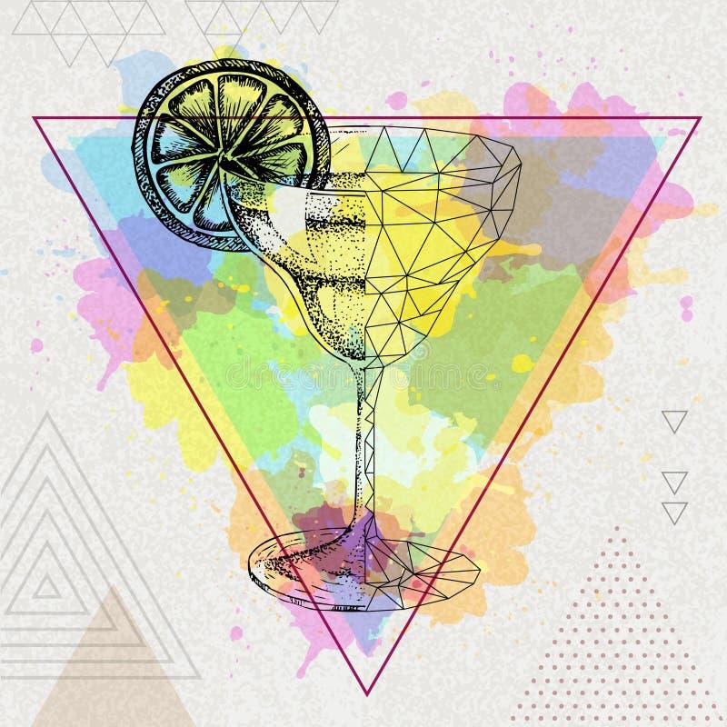 Margarita réaliste et polygonale de hippie de cocktail illustration libre de droits