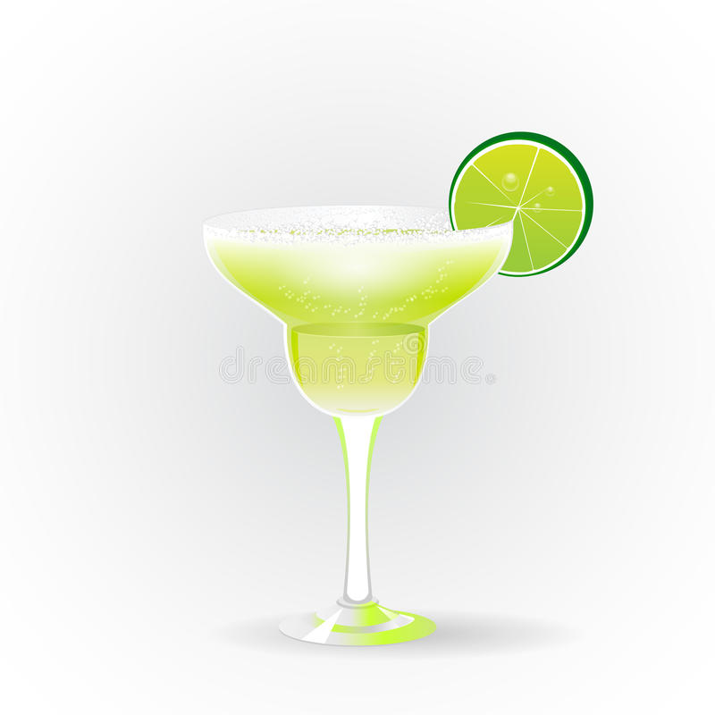 Margarita realistic cocktail. In glass with lime slice on white background vector illustration vector illustration