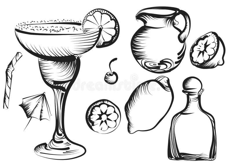 Margarita set. Margarita Daiquiri cocktail set with lime, cherry, lemon royalty free illustration