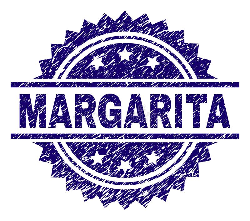 Scratched Textured MARGARITA Stamp Seal. MARGARITA stamp seal watermark with distress style. Blue vector rubber print of MARGARITA tag with corroded texture vector illustration
