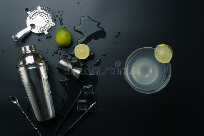 Margaritacoctail- och stångutrustningar arkivbilder