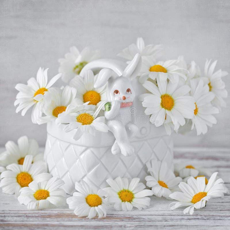 Margaritas blancas en un florero hermoso foto de archivo