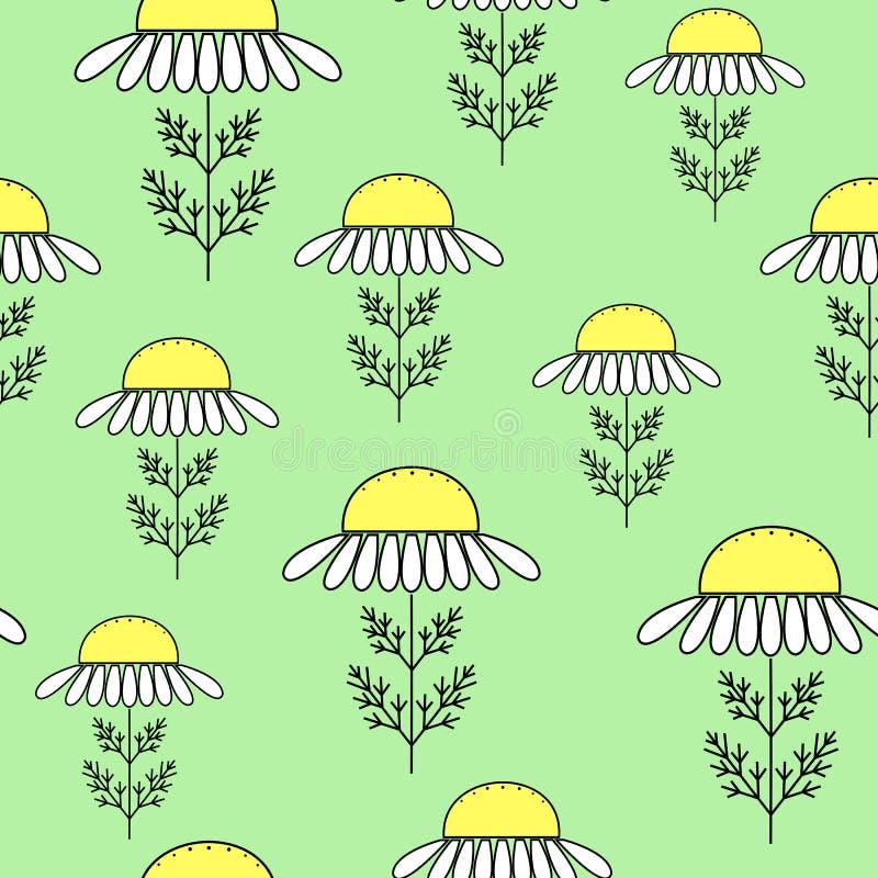 Margaritas en un fondo verde Conveniente como textura para el envoltorio para regalos Ilustraci?n del vector ilustración del vector