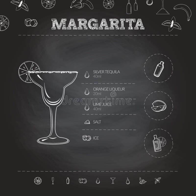 margaritas Koktajlu infographic set również zwrócić corel ilustracji wektora royalty ilustracja