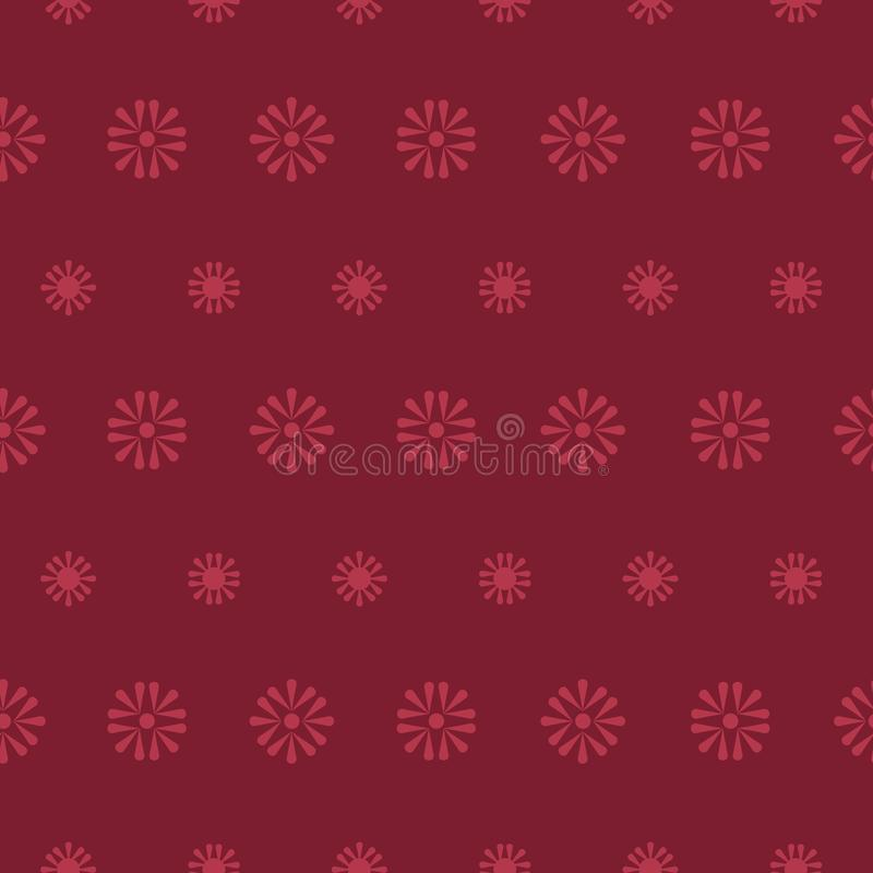 Margaritas populares del vector en fondo inconsútil de color rojo oscuro del modelo ilustración del vector