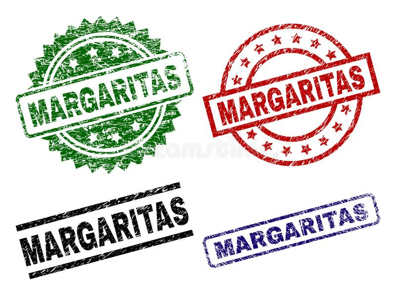 Scratched Textured MARGARITAS Seal Stamps. MARGARITAS seal prints with corroded texture. Black, green,red,blue vector rubber prints of MARGARITAS label with dust stock illustration