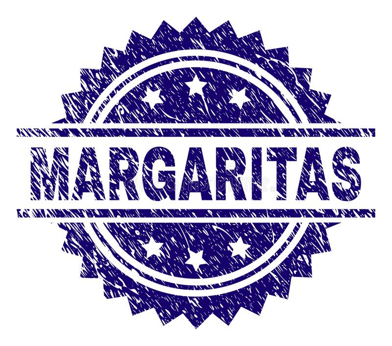 Grunge Textured MARGARITAS Stamp Seal. MARGARITAS stamp seal watermark with distress style. Blue vector rubber print of MARGARITAS text with unclean texture royalty free illustration