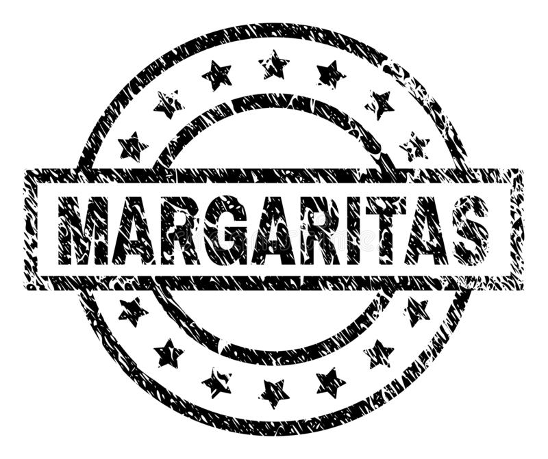 Scratched Textured MARGARITAS Stamp Seal. MARGAS stamp seal watermark with distress style. Designed with rectangle, circles and stars. Black vector rubber print vector illustration