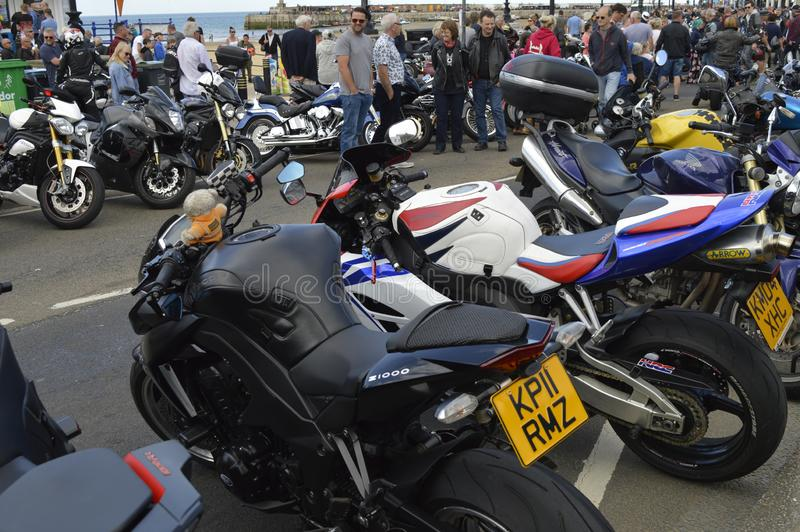 Visitors admire motorbikes at Margate Meltdown annual bike ride. royalty free stock photography