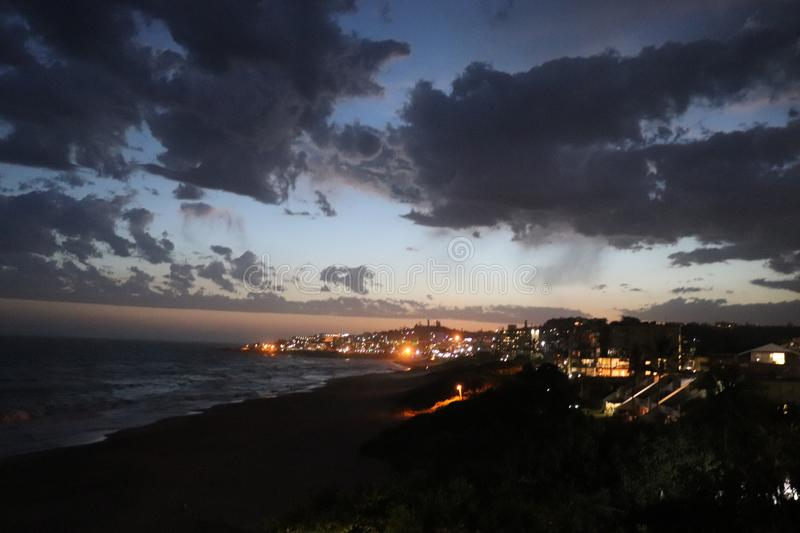 Margate, South Africa at night. Coastal views in South Africa stock photos